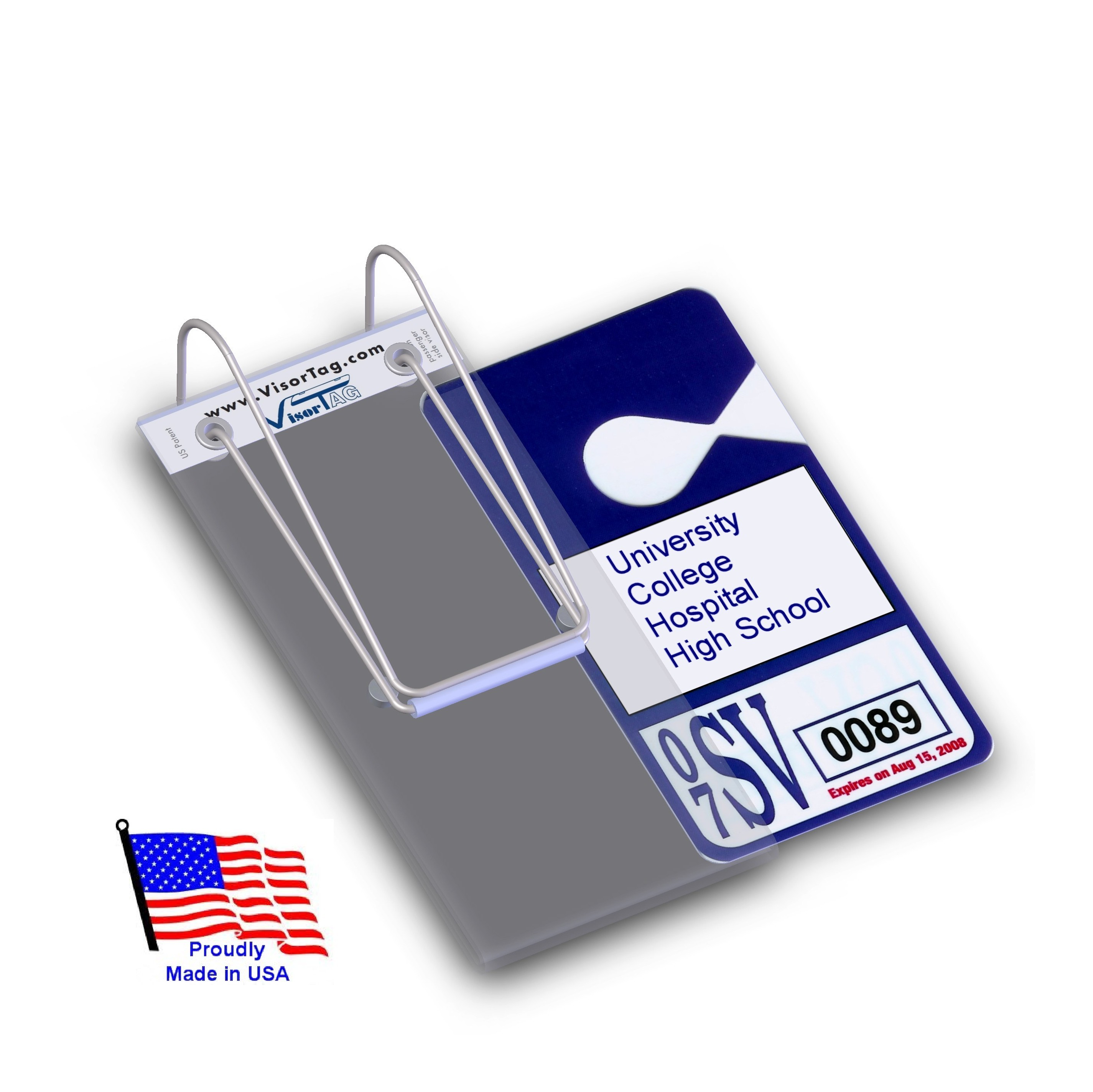 VisorTag®   Parking Permit Tag Holder for College, Hospital, High School, Train Pass, Season Pass & more